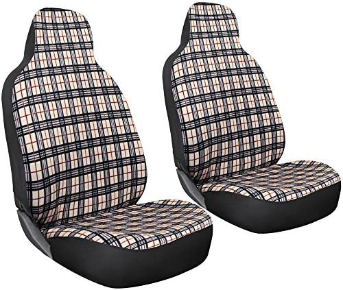 popular Oxgord 2pc Plaid Seat 2021 Cover Set for Car, online sale Truck, Van, SUV - Classic Fronts - Yellow outlet online sale