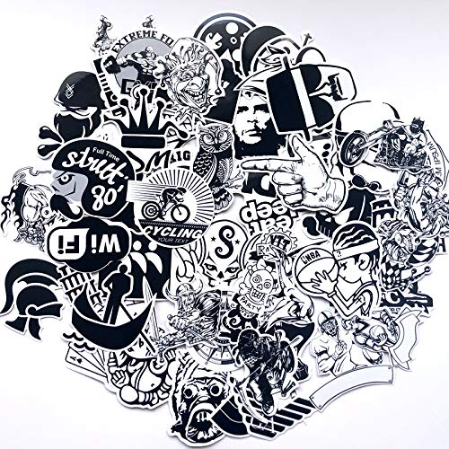 HAMISS 70 Stks Zwart en Wit Stickers voor Scrapbooking Koelkast Koffer Laptop Auto Helm Skateboard Bagage Graffiti Stickers DIY Sticker