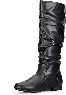 mysoft Women's Knee High Boots Flat Warm Winter Boots with Side Zipper