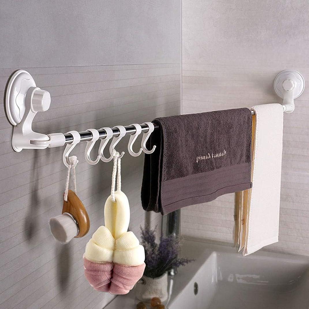 種毒液なめらかタオル掛け 台所や浴室のためのフックを備えたバスルーム拡張コーナーシャワーカーテンロッド吸引カップタオルバー タオルバー (Color : Silver, Size : 73x8x12cm)