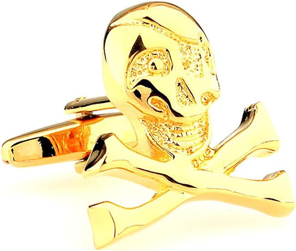 Men's Executive Gold Tone Cross Bones Happy Camper Skeleton Skull Head Cufflinks Cuff Links