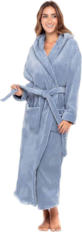 Alexander Del Rossa Women's Plush Fleece Robe with Hood, Long Warm Bathrobe