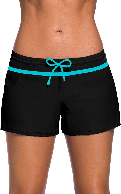 Aleumdr Womens Side Split Waistband Swim Shorts with Panty Plus Size S - 3XL