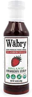 Wäbry Organic Syrup (Strawberry, No Sugar Added) 13.8 oz BPA-Free Plastic, Sweetened with Erythritol/Stevia