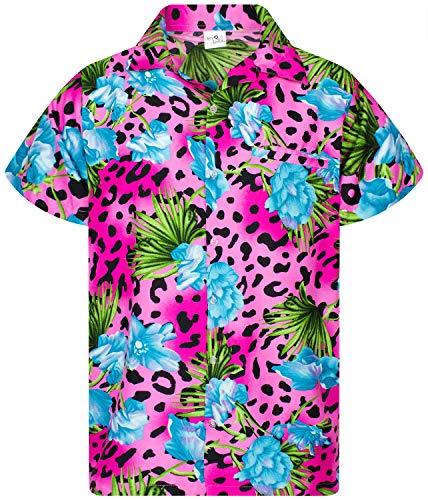 King Kameha Funky Hawaiihemd, Kurzarm, Leopard Flowers, Pink, M