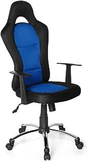 hjh OFFICE 634620 silla Gaming RACER 500 tejido negro / azul, con apoyabrazos, inclinable, aluminio pulido, estable, de dos colores, silla gamer, racing, silla oficina, silla escritorio, silla giratoria