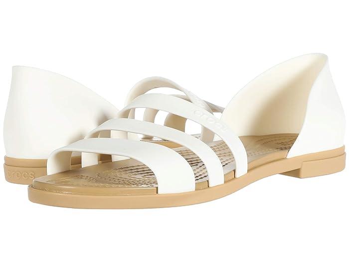 Crocs  Tulum Open Flat (Oyster/Tan) Womens Flat Shoes