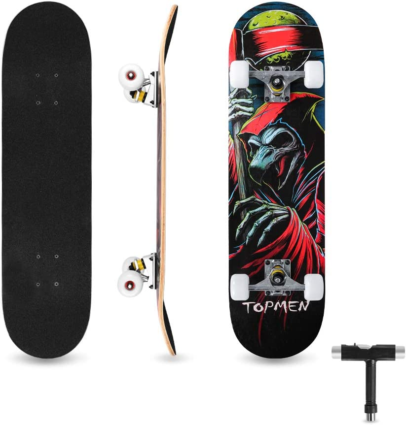 Bigzzia Skateboard Complete for Kids Teens /& Adults Beginners Birthday Gift for Boys /& Girls Double Kick Maple Deck Concave Cruiser Skateboard with T-Tool