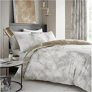 Gaveno Cavailia Luxurious Marble Bed Set with Duvet Cover and Pillow Cases, Polyester-Cotton, Cream, Super-King, 11150817