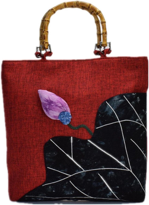 Tianrui Crown Women And Ladies The 5D Flower Embroidered Canvas Bag Shoulder Bag Slub Tophandlehandbags