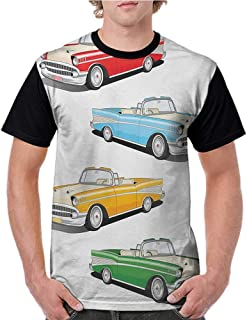 Summer Casual Short Sleeve,Manly,Collection of Four Classic Car Roadsters Old Fashioned Transportation Illustration,Multicolor S-XXL T Shirt Female Tight