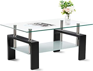 Sponsored Ad - Smile Back Glass Coffee Table 39.4'' Coffee Tables for Living Room Black Table Center Tables for Living Roo...
