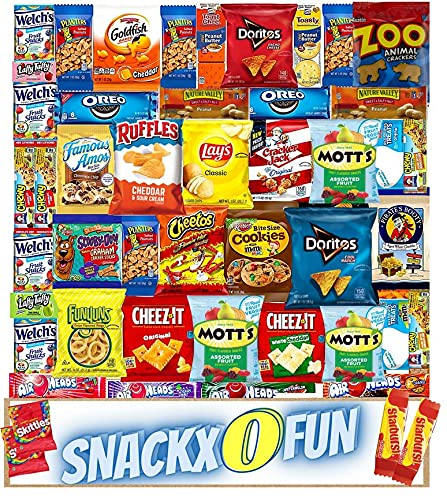 SnackxOfun Ultimate Variety Care Package (50 Count) – Sampler Gift Package, Snacks, Chips, Cookies, Bars, Candies, Nuts Gift Box, Office Meetings ,Friends & Family, Military, College Students Camping Road Trips