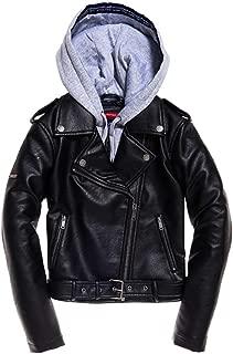 Superdry PU Hooded Biker Jacket