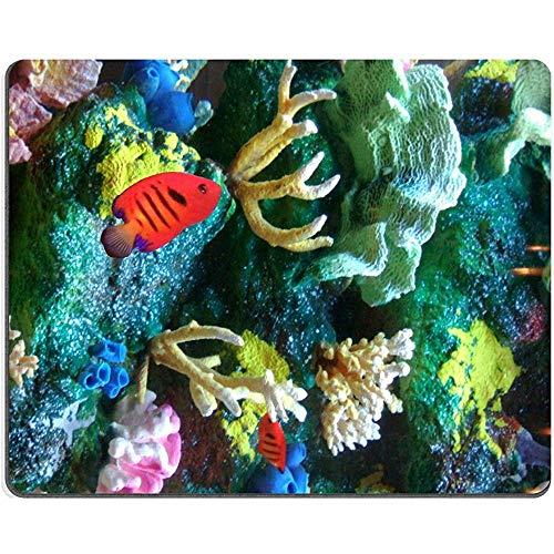Muis Pad Natuurlijke Rubber Mousepad Image Id Aquarium Bevat Heldere Rode Vis Kleurrijke Koraal Rotsen En Zee Spons