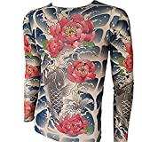 (SHINA)タトゥーTシャツ 花と鯉タトゥー ロングスリーブTシャツ 長袖 入れ墨 メンズ 欧米風 ガッコいい ファッショナブル 柔軟性があり 春 秋