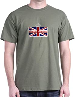 God Save The Queen Dark T Shirt 100% Cotton T-Shirt Military Green
