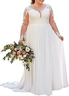 Nanger Vestido de novia de gasa con encaje y manga larga para mujer