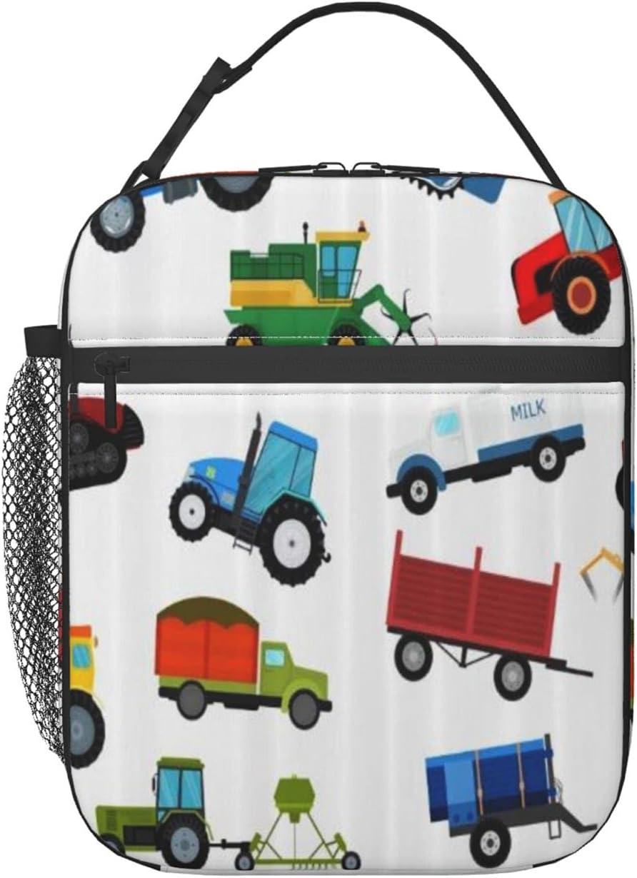 FAKAINU Bolsa de almuerzo Tote Máquina de tractor agrícola Equipo de granja industrial, Caja de almuerzo Refrigerador Bolsa de almuerzo aislada con correa para el hombro para hombres adultos Señora B