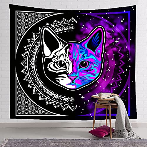 Black Hippie Cat Wall Hanging Tapestry Purple Room Decor for Bedroom Aesthetic Psychedelic Living Room Decor Gothic Boho Wiccan Decor (BHC1,150cm x 200cm(59''x 79''))