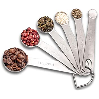 Measuring Spoon Set, Stainless Steel Measuring Spoons, Set of 6 Metal Measuring Spoon for Measuring Dry and Liquid Ingredients of Cooking Baking