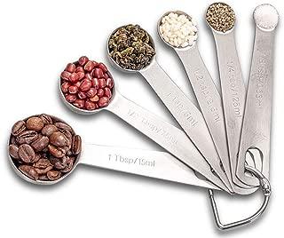 Measuring Spoon Set, Stainless Steel Measuring Spoons, Set of 6 Metal Measuring Spoon for Measuring Dry and Liquid Ingredients of Cooking Baking