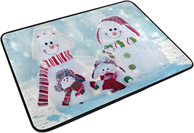 Mydaily Lovely Snowman Family Doormat 15.7 x 23.6 inch, Living Room Bedroom Kitchen Bathroom Decorative Lightweight Foam Printed Rug
