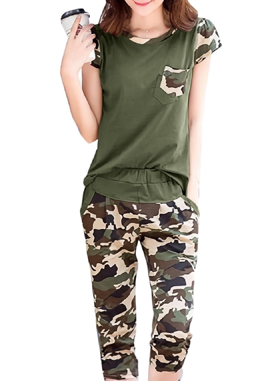 [ジルア] 迷彩 レディース スウェット ジャージ M ~ 2XL 半袖 七分丈 パンツ 上下セット ブラック グリーン スポーツ 部屋着 #044