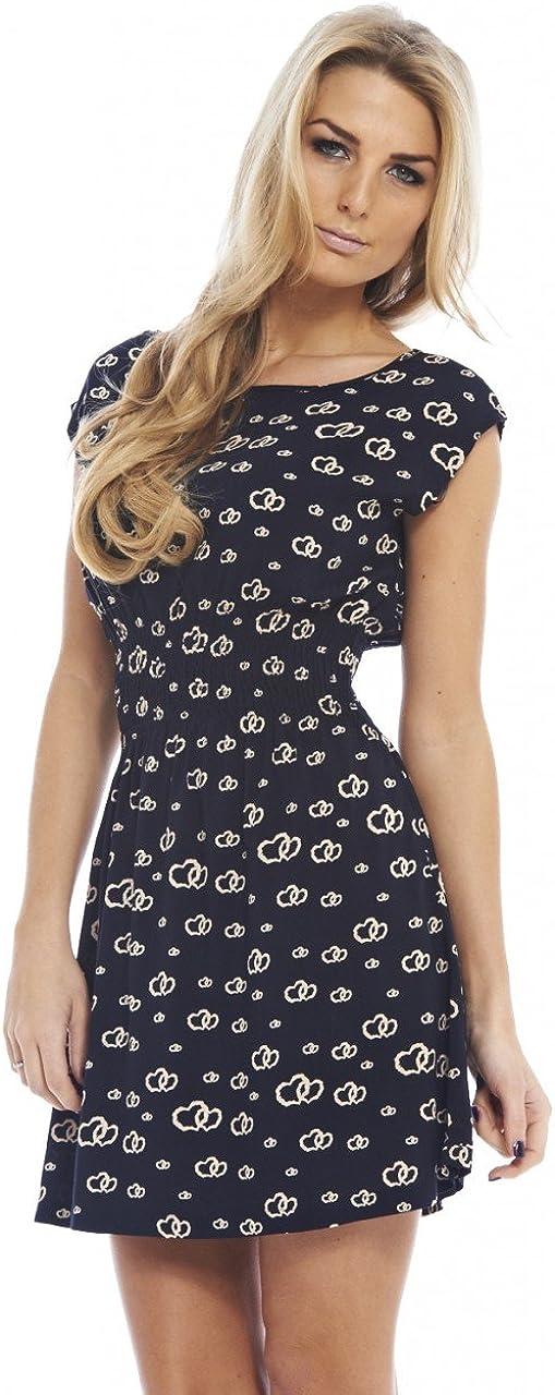 AX Paris Women's Double Heart Print Elasticated Dress
