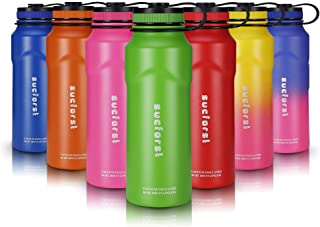 SUCFORST Sports Water Bottle +2 straw Lid, Vacuum Insulated Wide Mouth Thermos Flask, Hot 12 Hours & Cold 24 Hours - Powder Coated Double Walled Metal Bottles - 36 Oz, Candy Apple Green