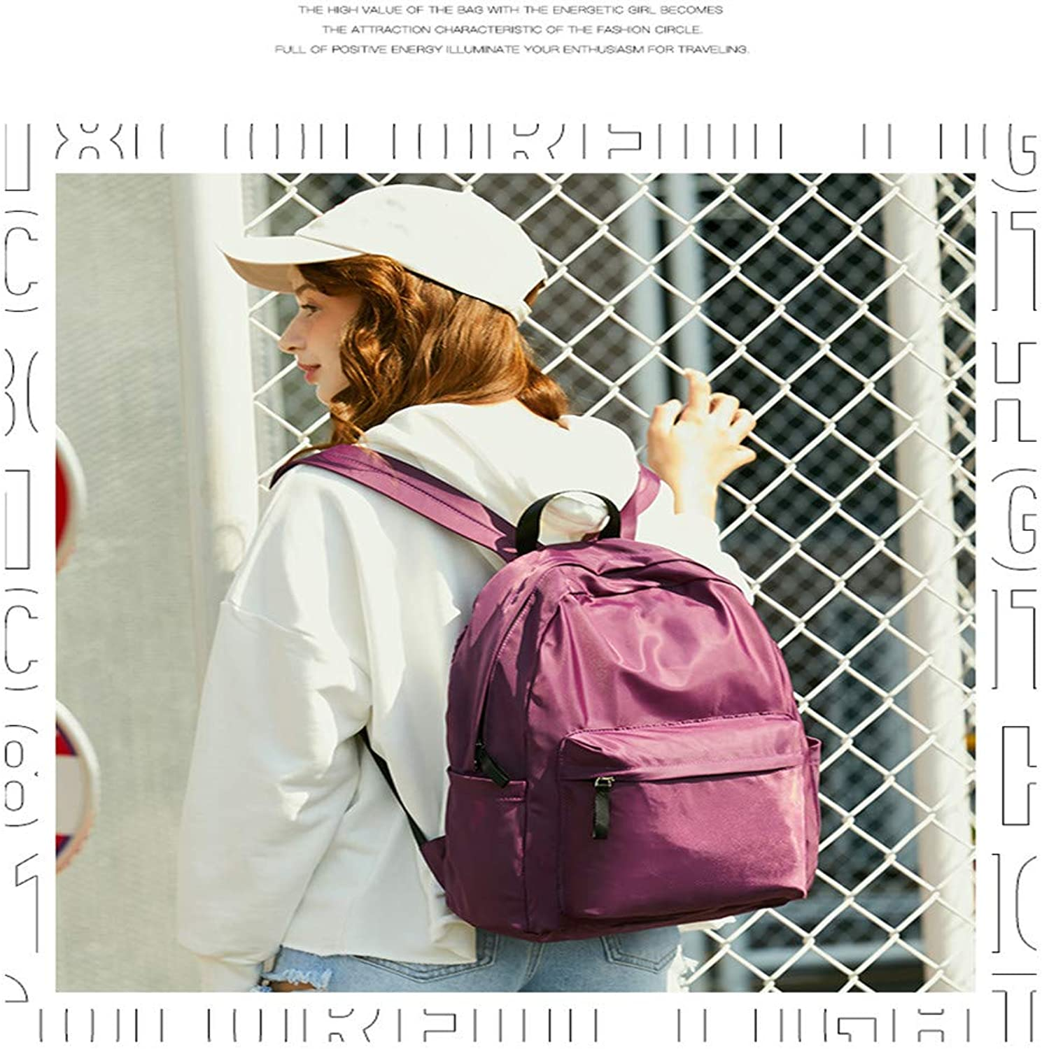Casual Daypacks, Women's Backpack Nylon AntiTheft Wild College Wind Bag Leisure Light Waterproof Travel Bag Large Capacity Computer Bag (color   Purple)