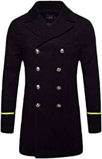 Mens Premium Long Sleeve Notched Collar Double Breasted Woolen Pea Coat Overcoat