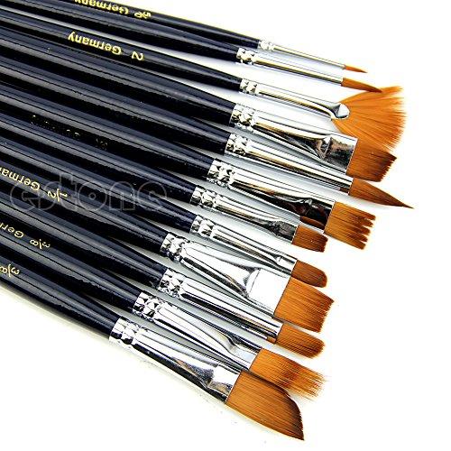 SimpleLife Paint Penselen, 12 Stuks Haar Acryl Kunstenaar Paint Penseel Set Platte Verf Borstels Supplies Set