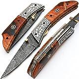 Coltello pieghevole, coltello tascabile, coltello fatto a mano su misura, coltello in acciaio damasco, con custodia in pelle, coltello da cucina artigianale, coltello da cucina forgiato a mano 8832