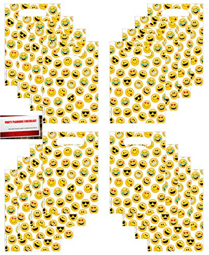 Emoji Funny Face Favor Loot Bags 16 Count (Plus Party Planning Checklist by Mikes Super Store)