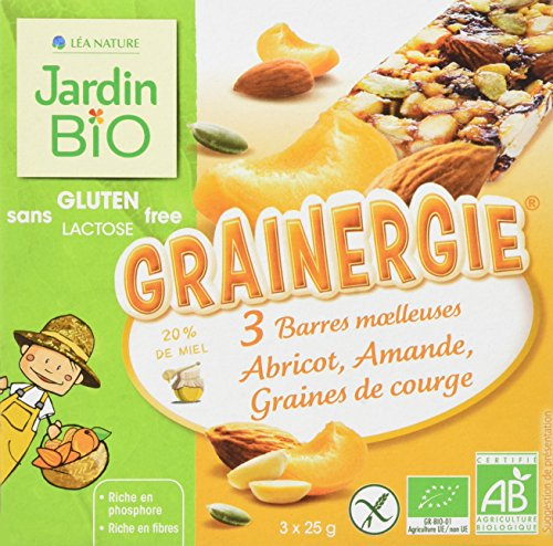 Jardin Bio Barres Moelleuses Grainergie Abricot Amande Graines de Courge sans Gluten 75 g