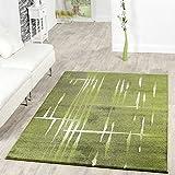Moderna alfombra de pelo corto con diseño de Matrix en verde, gris y crema, polipropileno, 70 x 140 cm