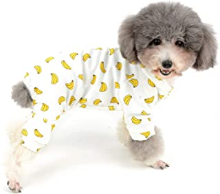 Zunea Small Dog Pajamas Jumpsuit Adorable Overalls Donut Banana Mouse Duck Football Pattern Puppy Clothes Summer Unisex Four Legs Pyjamas Cotton Sleeping Apparel for Pet Cats Pups