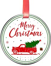 Elegant Chef Merry Christmas Ornament Gift- Christmas Tree Hanging Decoration for Holidays Celebration- 3 inch Flat Stainless Steel Xmas Festival Decor