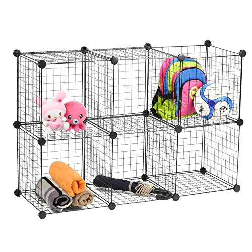 Wire Storage Cubes, MaidMAX Free Standing Modular Shelving Units Closet Organization Systems, 24 Wire Sides, Updated Version, Black