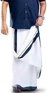 MCR Men's Pure Cotton Double Dhoti With Colour Border- 4m