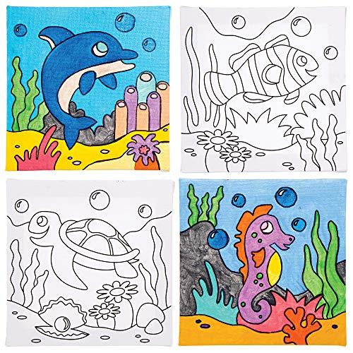 Baker Ross Lienzos Vida Marina para Colorear AT940 (paquete de 4) para proyectos de arte y manualidades para niños, surtidos