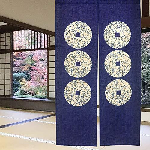 Cortina de puerta japonesa Noren para decoración del hogar, de LIGICKY, poliéster y mezcla de poliéster, Seis monedas, 33.5'x59'