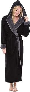 Alexander Del Rossa Women's Warm Fleece Robe with Hood, Long Plush Contrast Sherpa Bathrobe