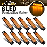 Partsam 10X 3.8 Amber 12V Front Side Marker 6 LED Trailer Truck Lorry Indicators Lights, A...