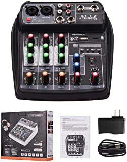 MZGA Muslady Mixer BT MP3 USB Input +48V Phantom Power for Music Recording (Color : Black US Plug)