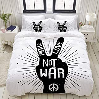 VANKINE 3PC Bedding Set Grungy Distressed Hand Peace Sign Silhouette with Make Love Slogan Quote Theme 1 Duvet Cover with 2 Matching Pillowcases Dorm Room Decor Twin/Twin XL