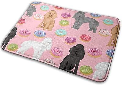 """Toy Poodle Mixed Coat Donut Pink_20331 Doormat Entrance Mat Floor Mat Rug Indoor/Outdoor/Front Door/Bathroom Mats Rubber Non Slip 23.6"""" X 15.8"""""""