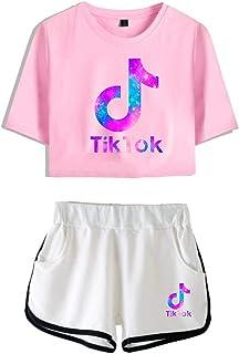 Womens T-Shirt Tracksuit Sportwear Suit TIK Tok Blouse