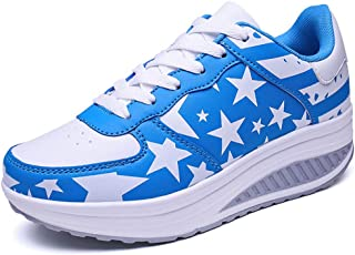 Women's Lace Up Platform Wedge Sports Sneakers Fitness Sports Shoes